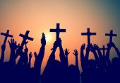 Постер, плакат: Hands Holding Cross Christianity Religion Faith Concept