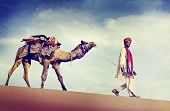 picture of desert animal  - Indian Man Camel Desert Travel Concept - JPG