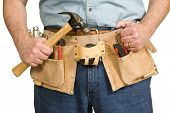 Постер, плакат: Repairmans Toolbelt With Hammer