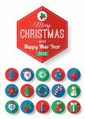 stock photo of christmas bells  - Set of Christmas typographical label and round flat icons with long shadow - JPG