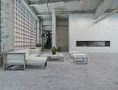 foto of settee  - 3D Rendering of Elegant Architectural Interior Loft Design with Small White Table and Chairs Style - JPG
