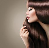 picture of brunette hair  - Beauty Model girl with Healthy Brown Hair - JPG