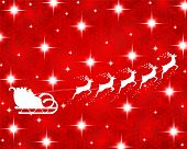 picture of sleigh ride  - Santa Claus rides in a sleigh reindeer on red background - JPG