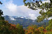 foto of blue ridge mountains  - Very nice scene of mountains and sky on a crisp clear fall morning just off the Blue Ridge Parkway - JPG