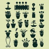 stock photo of plant pot  - icons set of pot plants garden flowers and herbs in flat style - JPG
