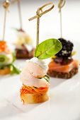 picture of canapes  - Seafood and Vegetables Canapes Dish - JPG