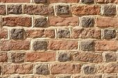 image of mortar-joint  - Red Bricks Wall or stone texture background - JPG
