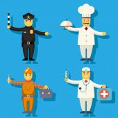 Постер, плакат: Cartoon Chief Cook Worker Repairer Police Officer Doctor Medic Character Symbol Icon Flat Design Vec