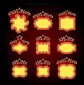 stock photo of marquee  - Retro illuminated movie marquee vector set 03 - JPG