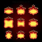 foto of marquee  - Retro illuminated movie marquee vector set 05 - JPG