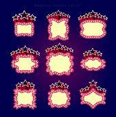 picture of marquee  - Retro illuminated movie marquee vector set 07 - JPG