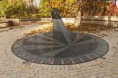 foto of sundial  - Sun clock marble sundial in Kiev Kyiv Ukraine photo - JPG