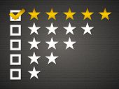 foto of 5s  - Five matted yellow web button stars ratings with reflection - JPG
