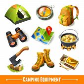 image of boot camp  - Camping summer outdoor activity equipment decorative icons set isolated vector illustration - JPG