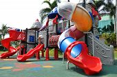 picture of playground  - Colorful children playground in the park without children - JPG