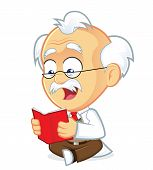 image of professor  - Vector Picture of a Professor Cartoon Character Reading a Book - JPG