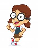 image of dork  - Clipart Picture of a Girl Geek Cartoon Character Leaning on an Empty Block - JPG