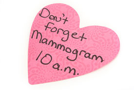 picture of mammogram  - Sticky note reminding to have your mammogram - JPG