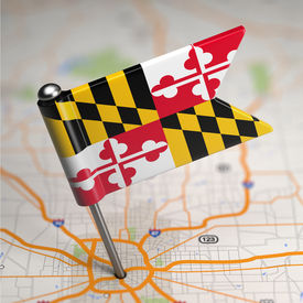 picture of maryland  - Small Flag of Maryland on a Map Background with Selective Focus - JPG