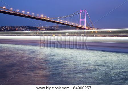 Bosporus Bridge At Night From Ortakoy Coast Istanbul, Turkey