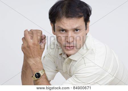Portrait of a man looking angry