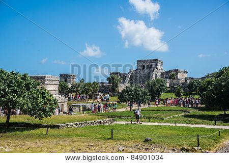 Tulum, Mexico - December 22: Ancient Mayan Ruins Near The Caribbean Sea On December 22, 2014 In Tulu