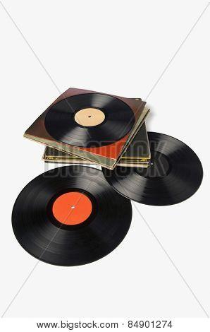 Close-up of LP discs