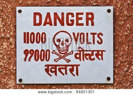 High Voltage warning signboard on a wall, Gurgaon, Haryana, India
