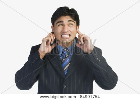 Businessman escapes from loud music