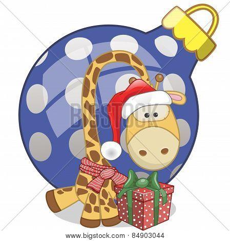 Giraffe In A Santa Hat