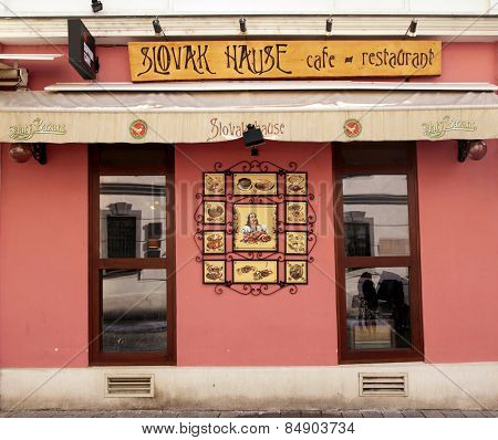 Restaurant Entrance Slovak House, Bratislava, Slovakia.