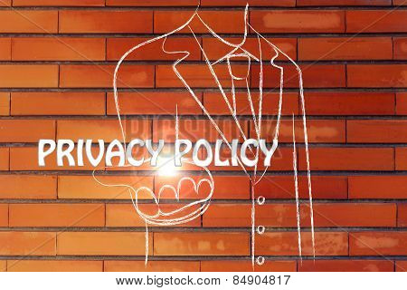 Business Man Handing Out The Word Privacy Policy