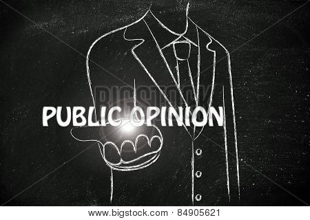 Business Man Handing Out The Word Public Opinion