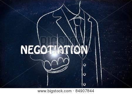 Business Man Handing Out The Word Negotiation
