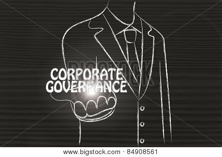 Business Man Handing Out The Word Corporate Governance
