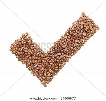 Yes tick sign made of coffee beans