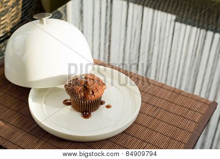 Chocolate muffin under the ceramic salver over white dish