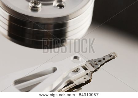 Close-up of a computer hard disk