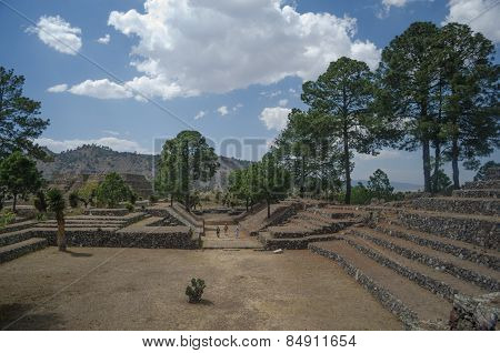 Archaeological ruins in Cantona, Puebla, Mexico