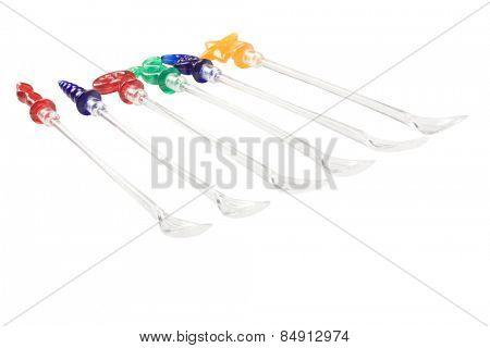Close-up of assorted  plastic stirrers