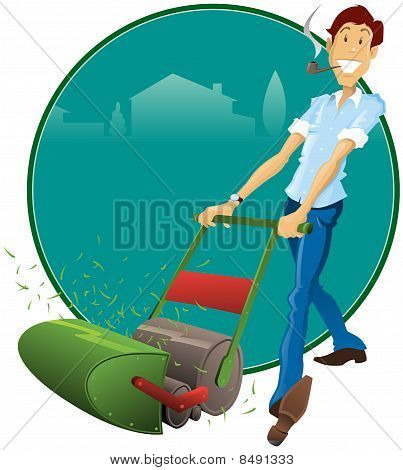Retro Style father with his Lawnmower