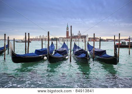 San Giorgio Maggiore Church With Moored Gondolas