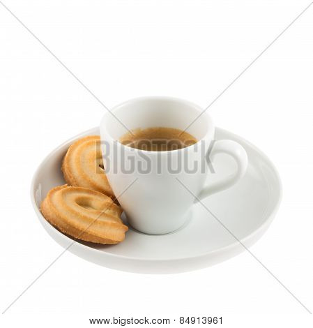 Cup of coffee with butter cookies isolated