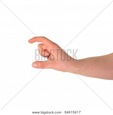 Showing a small size, hand gesture isolated