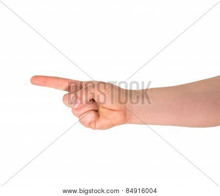 One finger hand gesture sign isolated