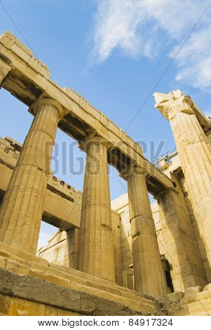 Ruins of an ancient gateway, Propylaea, Acropolis, Athens, Greece