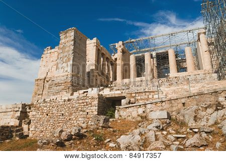 Ruins of an ancient gateway under renovation, Propylaea, Acropolis, Athens, Greece