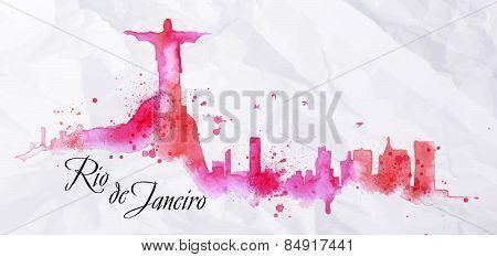 Silhouette watercolor Rio de Janeiro