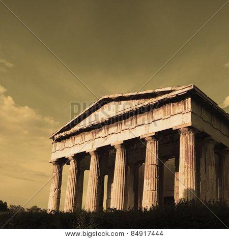 Ruins of an ancient temple, Parthenon, Acropolis, Athens, Greece