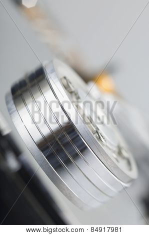 Close-up of a spindle of hard drive